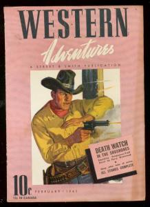 WESTERN ADVENTURES FEB 1941-STREET & SMITH PULP-PINK CV FN/VF