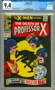 X-Men 42 (CGC 9.4) OW/W pgs; Death of Professor X; Marvel Comics; 1968