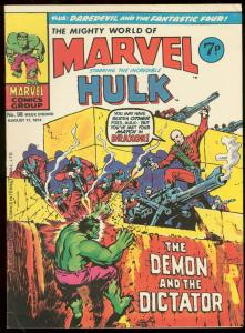 MIGHTY WORLD OF MARVEL #98 1974-INCREDIBLE HULK-BRITISH VG