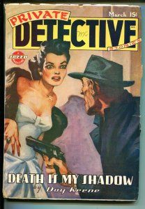 Private Detective Stories 3/1946-saucy woman-Day Keene-crime-pulp-FN-