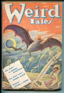 WEIRD TALES  07/1950-MATT FOX-HORROR COVER-SEABURY QUINN-ROBERT BLOCH-vg