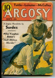 Argosy 9/28/1935-Foreign Legion cover& story-Pulp tales-Johnston McCulley Zor...