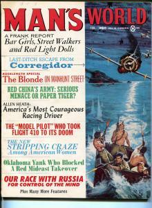 Man's World 2/1965-Atlas-Britta Jansen cheesecake pix-strip tease craze-pulp-FN