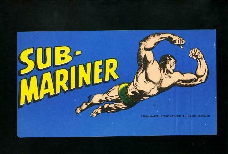 SUB-MARINER BUMPER STICKER 1966-MARVEL COMICS-ELUSIVE ! VF/NM