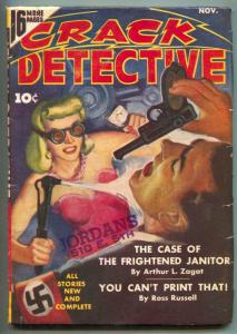 Crack Detective Pulp November 1942- Nazi being burned cover