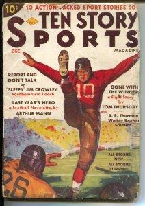 Ten Story Sports 12/1937-football punt cover-baseball-boxing-hockey-G