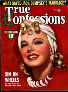True Confessions 10/1941-Fawcett-Zoe Mozert pretty girl cover-Dempsey-pulp-VF
