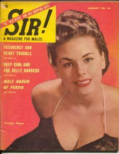 Sir! 1/1954-belly dancers-Carolyn Winn-Lili St Cyr-cheesecake pix-moon travel-VG