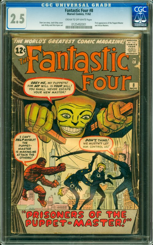 Fantastic Four #8 CGC Graded 2.5 1st appearance of the Puppet-Master and Alic...