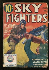 SKY FIGHTERS 11/1939-AIR WAR PULP-THRILLS-ARMY-NAVY-INSIGNIA-vg
