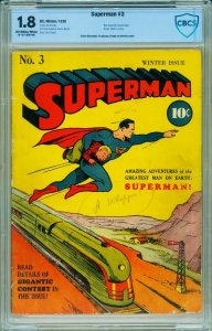 SUPERMAN #3-CBCS 1.8 Golden-Age Comic Book-1940-RARE DC