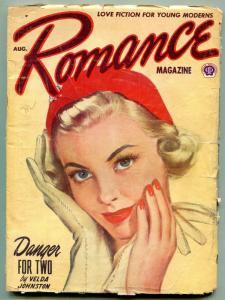 Romance Pulp August 1952- Danger for Two- Velda Johnston VG