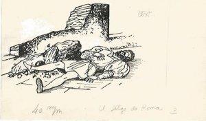 DIBUJO 3645: BOCETO NUMERO 3 EN TINTA NEGRA PARA EL SETGE DE ROMA