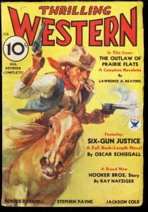 THRILLING WESTERN 1934 FEB BILLY THE KID GUNFIGHTS PULP VG