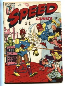Speed #43 1947-ROBOT COVER-Harvey-late issue-Capt Freedom-Blonde Bomber