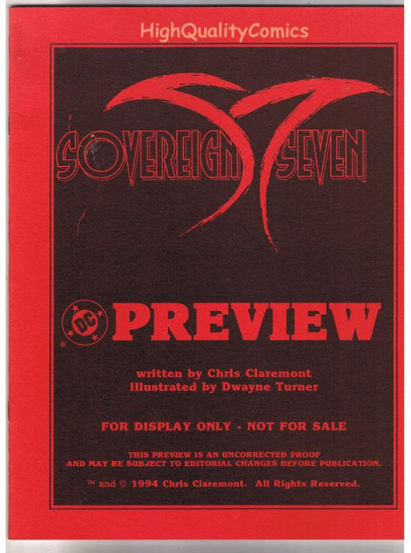 SOVEREIGN SEVEN, Black White Promo, Chris Claremont, 1994, VF/NM, Preview
