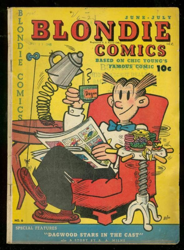 BLONDIE COMICS #6 1948-CHIC YOUNG-TED WILLIAMS-AA MILNE VG