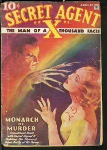 SECRET AGENT X 1935 AUG-WEIRD SUPERNATURAL COVER FR