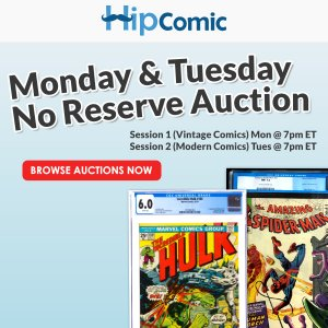 The 198th HipComic No Reserve Auction Event