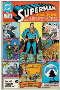 SUPERMAN 423 F-VF  ALAN MOORE PEREZ historic Sept. 1986