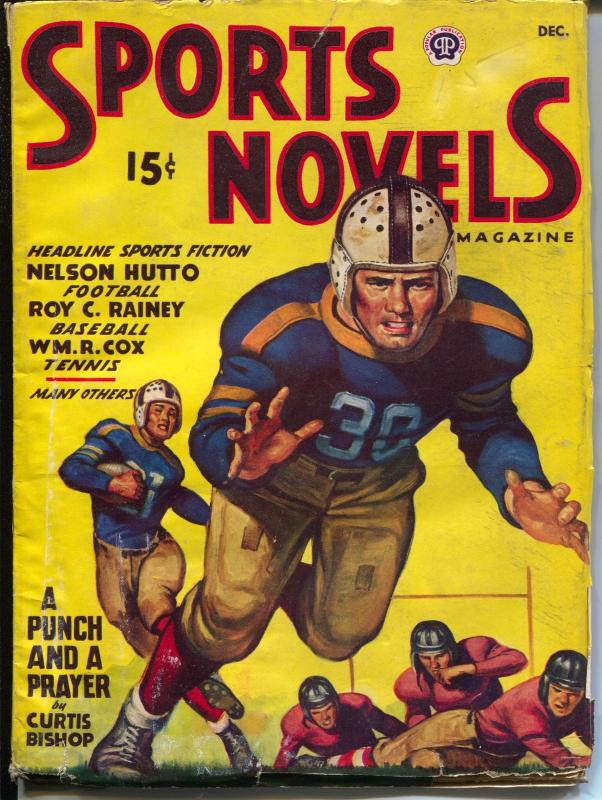 Sports Novels 12/1947-vintage football uniform-baseball-racing-Cunningham-VG+