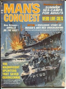 Man's Conquest 8/1963-Basil Gogos PT Boat cover-cheesecake pix-war-crime-exploit