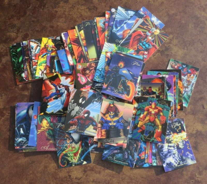 Lot of 100 1994 Flair Comic Cards NM Spider-Man Venom Thanos Wolverine Hulk