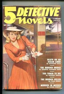 5 DETECTIVE MYSTERIES-NOV 1949-PULP-GUN MOLL-SOUTHERN STATES PEDIGREE-vf