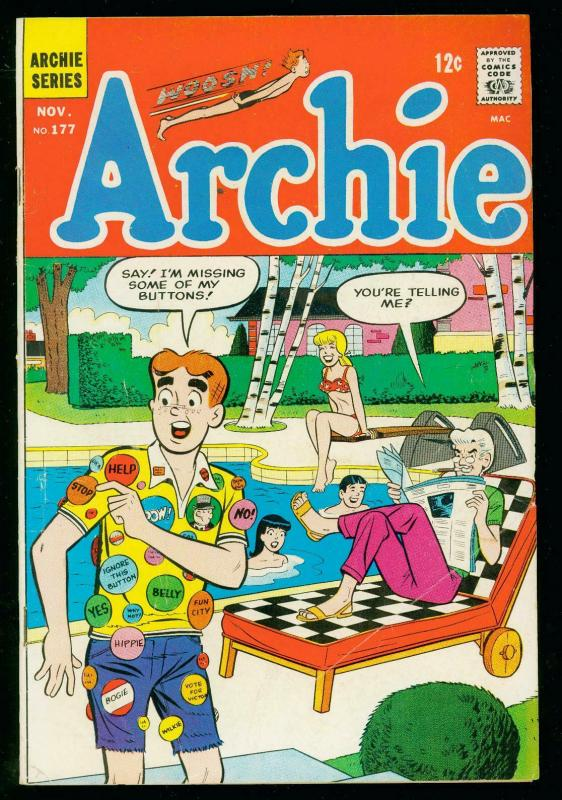 ARCHIE COMICS #177 1967- DIVING BOARD COVER- VERONICA- VG/FN