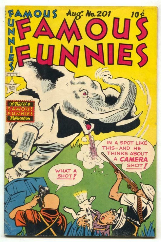 Famous Funnies #201 1952- Elephant cover- Dickie Dare FN-