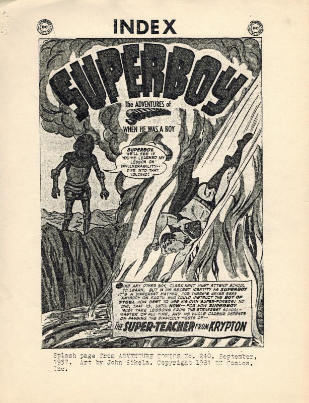 The Superboy Index by Gene Reed (1981) DC Comics Fanzine COVERS 1-237
