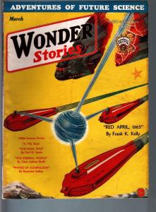 WONDER STORIES 3/1932-SCI-FI PULP-FRANK PAUL COVER VF