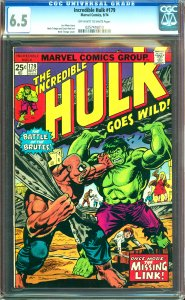 Incredible Hulk #179 CGC Graded 6.5