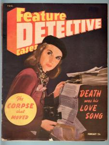 FEATURE DETECTIVE CASES 1944 FEB-VG-TRUE CRIME PULP MAG VG