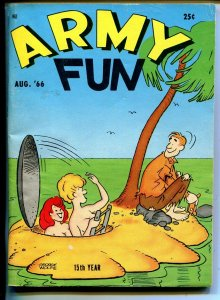 Army Fun 8/1966-Crestwood-military-spicy cartoons-jokes-comics-Wolfe-VG/FN