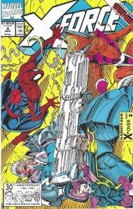 X-Force #4 (Nov 91) - Cable,Domino, Spider-Man,S.H.I.E.L.D.,Deadpool, Juggernaut