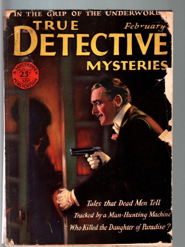 TRUE DETECTIVE MYSTERIES PULP-FEB 1928-BLACK HAND-CRIME-HORROR--TERROR FR/G