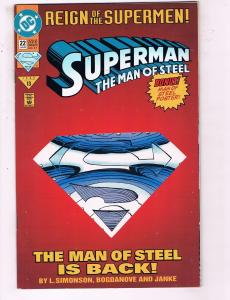 Superman The Man Of Steel #22 VF DC Comics Comic Book Simonson DE19