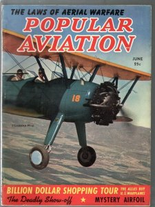 Popular Aviation 6/1940-air war photos-Stearman PT-13 cover-VG/FN
