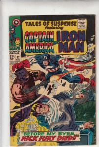 Tales of Suspense #92 (Aug-67) VF+ High-Grade Iron Man, Captain America