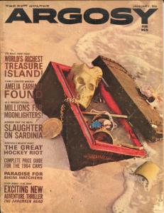 Argosy 1/1964-Popular Pubs-pulp fiction-skull-shrunken heads-cheesecake-VG