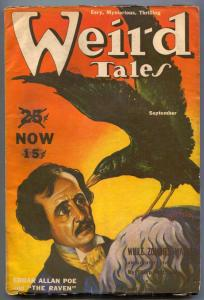 Weird Tales Pulp September 1939- Virgil Finlay-Edgar Allen Poe- VG