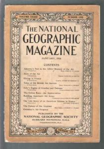 National Geographic 1/1918-WWI era issue-air war features pix & info-G