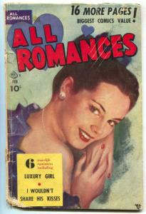 All Romances #4 1950- Luxury Girl- Golden Age- Painted cover FAIR