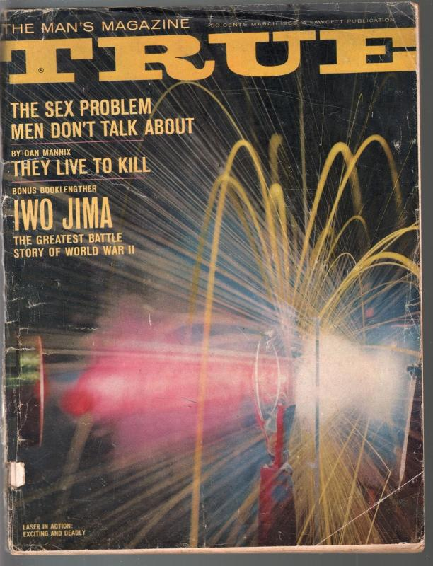 True 3/1965-Fawcett-laser light cover-Iwo Jima-crime-violence-pulp-FR