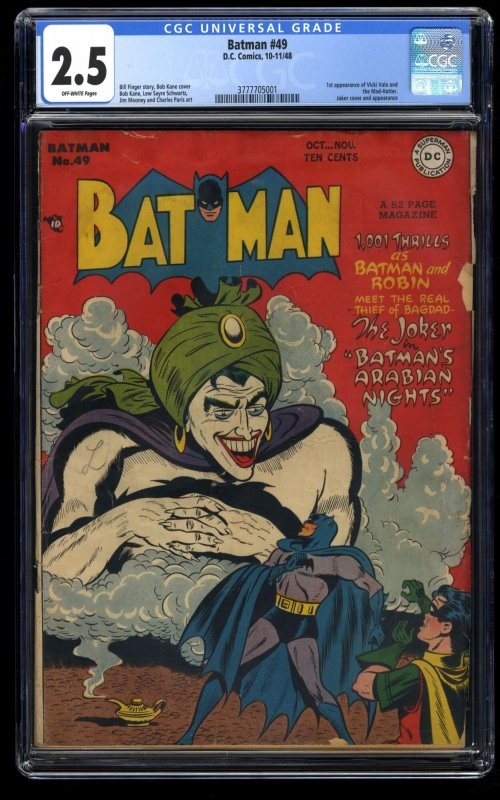 Batman #49 CGC GD+ 2.5 Off White 1st Vicki Vale and Mad Hatter!