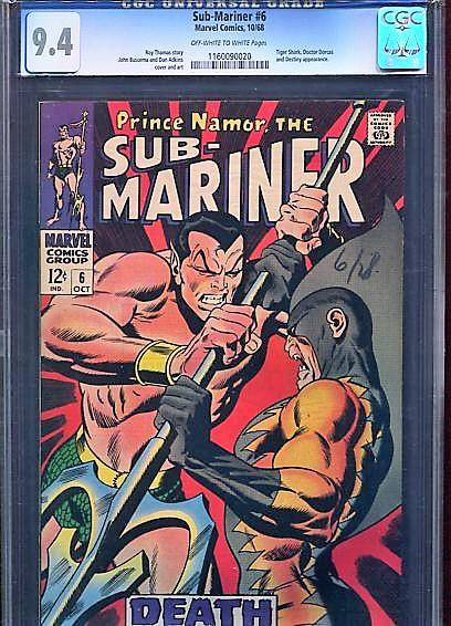 SUB-MARINER  #6  (1968)  CGC  9.4  OW/W  PAGES  SUPER HIGH GRADE