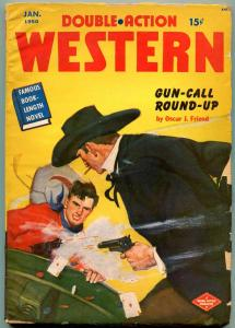 Double Action Western Pulp January 1950- Playing cards cover- Oscar Friend