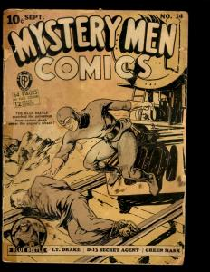 Mystery Men Comics #14 GD Faded Fox Features Syndicate Golden Age Comic Book NE1