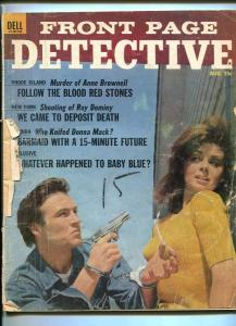 FRONT PAGE DETECTIVE-AUG. 1965-BARMAID-DEATH-BLOOD-HELL-KILL-BLOTTER FR/G
